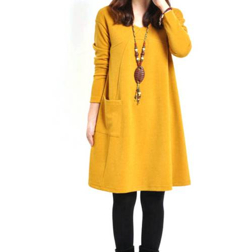[globalbuy] Pregnant Maternity Women Dress Long Sleeve Loose Dress Casual Solid Dress M-XL/4224102