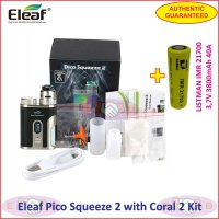 Eleaf Pico Squeeze 2 with Coral 2 100W RDA Vaporizer + 21700 Battery - Black