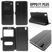 Oppo F1 Plus Double Window Leather Case Casing Cover Flip