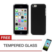 Case for Apple iPhone 5C - Slim Black Matte Hardcase + Gratis Tempered Glass