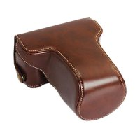 Third Party Leather Case for Fujifilm X-A3 - Dark Brown