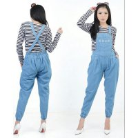 [over all jeans poket RO] jumpsuit wanita jeans biru muda