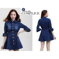 [Dress JN16 LO] dress wanita jeans washed biru