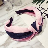 [BANDANA] 02F739r Color Fabric Hit The Wide Headband Pink+Dark Blue