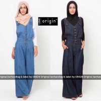 set jumpsuit denim celana kulot 2 warna (set hermes jeans VL)