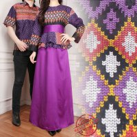 SB Collection Couple Gamis Bunga Dress Maxi Longdress Dan Kemeja Batik Pria
