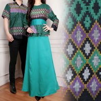 SB Collection Couple Gamis Adelle Dress Maxi Longdress Dan Kemeja Batik Pria