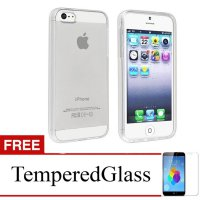 Case for iPhone 5s-5 - Clear + Gratis Tempered Glass - Ultra Thin Soft Case
