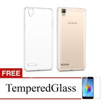 Case for Oppo F1 Selfie Expert - Clear + Gratis Tempered Glass - Ultra Thin Soft Case