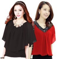 Jfashion New Korean Style Blouse Chiffon Combination Brenda / Combination with mote April / Pakaian wanita terbaru