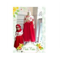 DRESS ANAK TANGAN PANJANG FULL PRINT FLOWER RED TUTU + JILBAB (RSBY-1811)