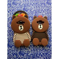 Softcase 3D Oppo Neo 7 A33 Cute Silicone Line Brown Striped Line And Friend Cover White Series