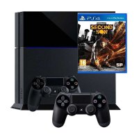 Sony PS4 Black Game Console [500 GB] + 2 Stick Controller + Infamous Second Son DVD Game