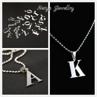Kalung Huruf Inisial Nama (A~z) ~ Stainlees Monel ~