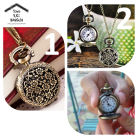 Pocket Watch Bronze Vintage Retro Pendant Necklace Chain Kalung Jam