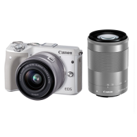 Canon Digital Camera EOS M3 White with EF-M15-45 IS STM EF-M55-200 IS STM