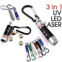 Gantungan Kunci Senter Laser 3 in 1 LED Mini Pointer Beam Sinar UV Lam SJ0019