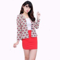 (Limited Offer) Jfashion Blazer batik Gaya Korea Tangan Panjang wanita - Azayaka