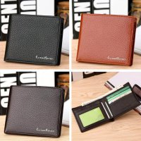 Men Leather Card Cash Receipt Holder Organizer Bifold Wallet Mini Purse
