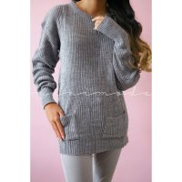 LIMITED BLOUSE POCKY SWEATER KANTONG BASIC RAJUT WANITA