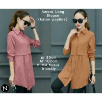 AMORA LONG BLOUSE YAN KATUN POPLINE FIT TO L BESAR