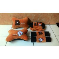 Bantal Mobil 3 in 1 LINE Brown Cony / Headrest Sandaran Leher 3in1