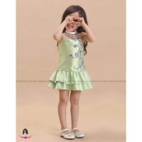 Dress Pesta Anak Satin Bordir Hijau Cantik