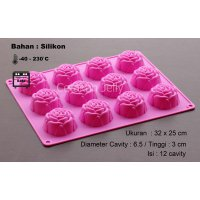 Cetakan Puding / Coklat Medium Rose 12 cav I