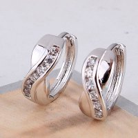 Anting 18k white gold filled X Shaped earrings, finest quality