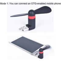 OTG + USB Super Mini Fan for use in Powerbank, Android Smartphone