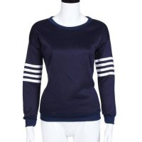 [globalbuy] winter women t shirt Polyester Striped long-sleeve baseball clothing girl swea/4006805