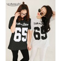 [globalbuy] YEMUSEED CC0011 Summer Style New Fashion Women Baseball T Shirt Stripe 65 Prin/4006689