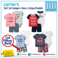P.R.O.M.O Baju Bayi Jumper Carter Set 3in1 Celana Pendek for Baby Boy