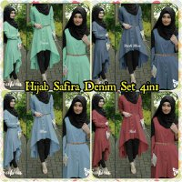 Hijab Safira Denim Set 4in1