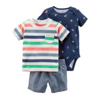 CARTERS 3 IN 1 JUMPER + PANTS (BOY STRIPE) - 3-6 Bulan