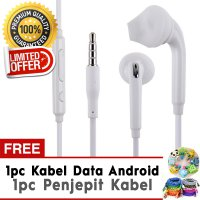 Handsfree Model S6 Samsung Earphone Headset Free Kabel Data Android Cable + Penjepit Kabel Character