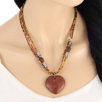 Kalung Vintage Coffee Heart Multilayer KN64803