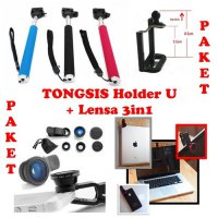 Paket Hemat Tongsis + Holder U + Lensa Fisheye 3in1 Wide Makro