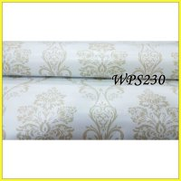 WALLPAPER STICKER WPS230 WHITE N SIMPLE MOTIF WALPAPER STIKER DINDING