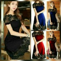 GAUN PESTA REMAJA / MINI DRESS BROKAT / DRESS KOREA
