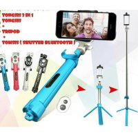 FUNGSI LENGKAP tongsis + tripod + Remot bluetooth 3in1