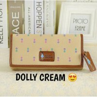 Dompet Korea Wanita Import Dolly Wallet Cream
