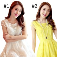 227 - Mini Dress Musim Panas Korea Slim Renda Bordir
