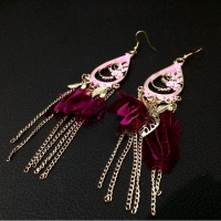 Anting Bulu Etnik Rumbai Panjang Bali India Fashion Korea Feather Dior SJ0045