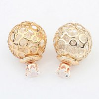 Anting Korea round shape decorated hollow out design