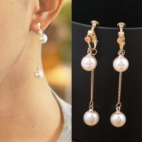 RFSDES939 Pearl Long Chain Ear Clip No Needle Gold
