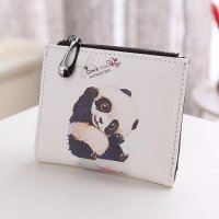 Women Vintage Panda Coin Clip Purse Short Wallet Clutch Handbag