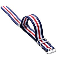 [poledit] YISUYA 20mm Nylon Striped Blue /White/Red American Flag Color Replacement Watch /13182952