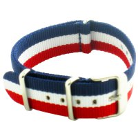 New 20mm France Flag Blue Red White Triple Stripes Nato Nylon Military Watch Band Strap Watchband