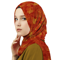 Aitana Hijab - Pashmina Motif Bunga PS16096 - Orange